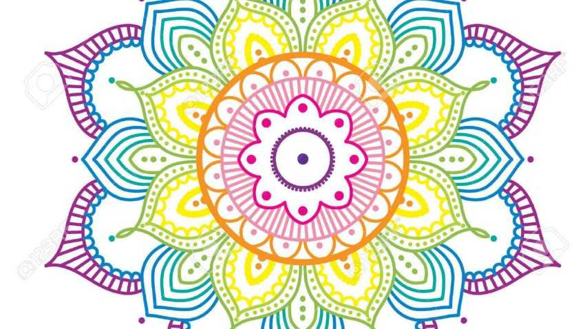 69975683 rainbow colorful mandala on pink background illustration