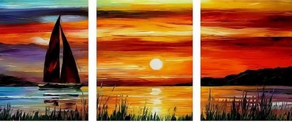 """""""Malování podle čísel - plachetnice v západu slunce"""""""