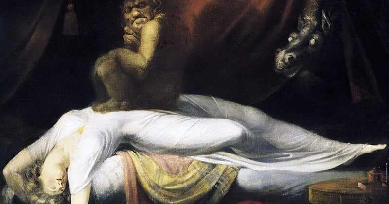 sleep paralysis depicted in a traditional way as a demon